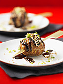 Meatballs with Hoisin sauce and sesame seeds (Asia)