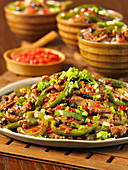 Pork and chili stir fry (China)