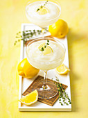 Lemon thyme vodka slush