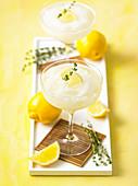 Lemon thyme vodka slush