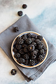 A bowl of wild blackberries