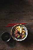 Korean chilli beef with kimchi