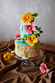 Hawaii cake decorated with flowers