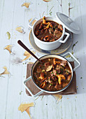 Beef goulash with mushrooms and white wine