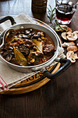 Spezzatino con funghi (venison ragout with mushrooms and red wine, Italy)