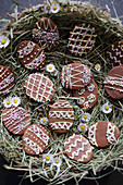Egg-shaped Easter biscuits with chocolate glaze