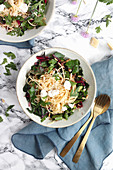 Spaghetti with chard, ricotta and pine nuts