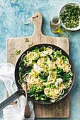 Pea and ricotta spaghetti with mint gremolata