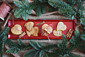 Heart shaped cookies with cinnamon and sugar (Christmas)