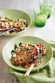 Rosemary steaks with chickpea salad