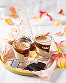 Chocolate vanilla desserts with coffee and coffee liqueur