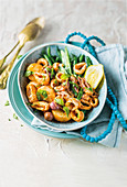 Squid with green beans, paprika pesto and potatoes