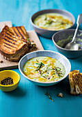 Cauliflower and broccoli soup with cheese toasties