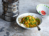 Lentil dhal with coconut rice to take away