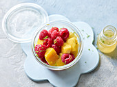 Fruit salad to take away in a jar
