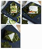 Sushi-Sandwich mit Lachs und Avocado zubereiten