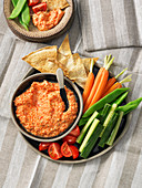 Roasted red pepper with feta dip