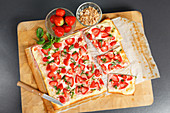 Sweet tarte flambée with strawberries