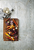 Honey-roasted vegetables with hazelnut and goat s cheese