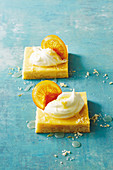 Pink grapefruit custard slice