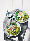 Chicken and green vegetable salad with blue cheese dressing