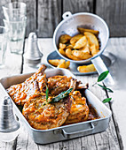 Piri piri pork chops with potato wedges