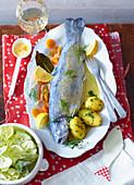 Trout au bleu with parsley potatoes