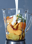 Ingredients for apricot and peach frozen yoghurt with ginger and rosemary in a blender