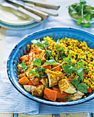 Chicken and pumpkin curry with golden wheat