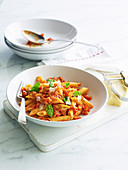Penne with Vegetable Bolognese and Ricotta Sauce