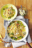Cannellini bean spaghettini with goat s cheese