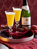 Bucks Fizz cocktails with clementine juice