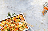 Fruity, oven-roasted vegetables on a baking tray