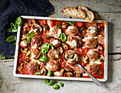 Gratinated, Italian-style mini meatballs