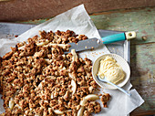 Alcoholic tray bake pear crumble
