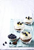 Lemon Cheesecake mit Blaubeeren in Gläsern