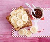 Chocolate and banana toast