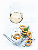 Taralli Pugliese and a glass of white wine