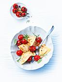 Ravioli with tomato ragout