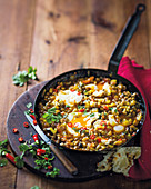 Lentil curry with sweet potatoes and eggs