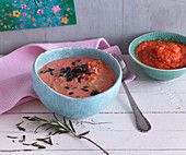 Tomato and quinoa soup for mum and mashed for baby