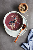 Blueberry and spinach bowl with acai and hemp seeds