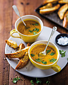 Carrot soup with dukkah bread