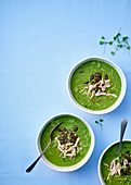 Pea and mint soup with chicken meat
