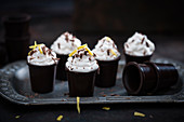 Vegan lemon cream in chocolate cups