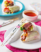 Vietnamese spring rolls with beef and pineapple