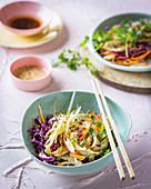 Chicory salad with chicken, carrots, red cabbage and sesame seeds
