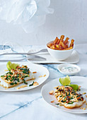 Cod fillet with slivered almonds and chips