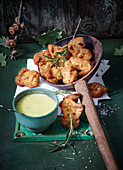 Porccini mushroom beignets with a mountain cheese sauce