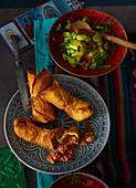 Chimichangas with tomato guacamole (Mexico)